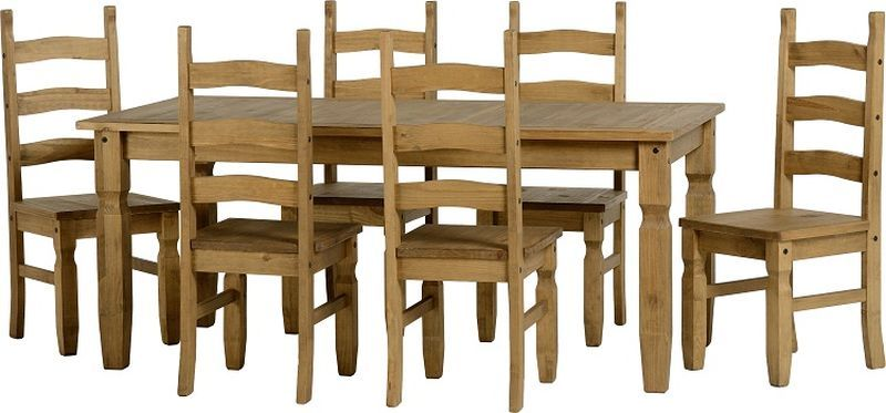 Corona 6' Dining Set - DISTRESSED WAXED PINE