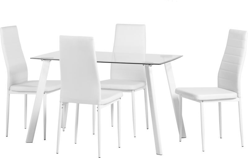 Abbey Dining Set - CLEAR GLASS/WHITE