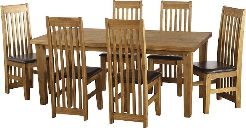 Tortilla Dining Set (Distressed Waxed Pine) - Brown
