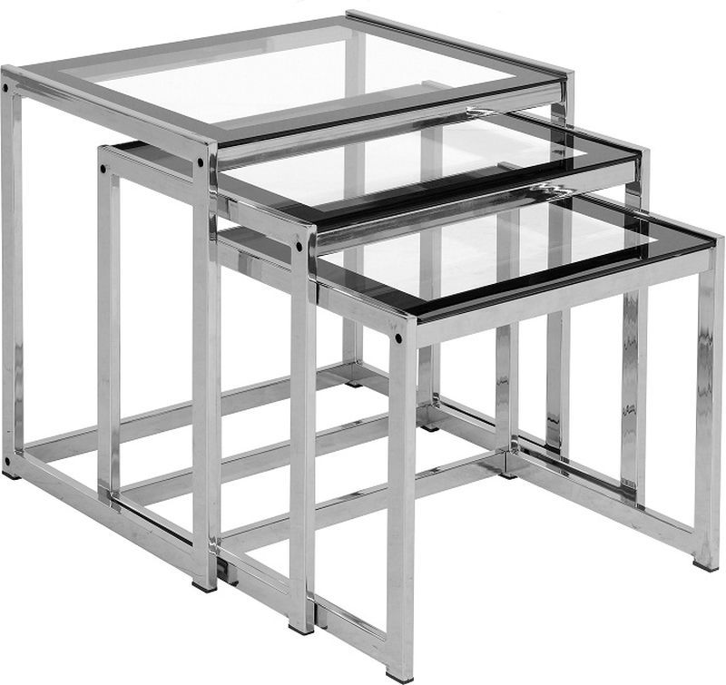 Henley Nest of Clear Tables - BLACK BORDER/BLACK