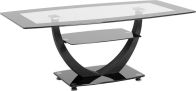 See more information about the Henley Clear Coffee Table - BLACK BORDER/BLACK