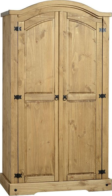 Corona Rustic Style Wardrobe (2 Door) - DISTRESSED WAXED PINE