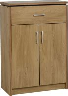 See more information about the Charles 2 Door 1 Drawer Shoe Cabinet - OAK VENEER/WALNUT TRIM
