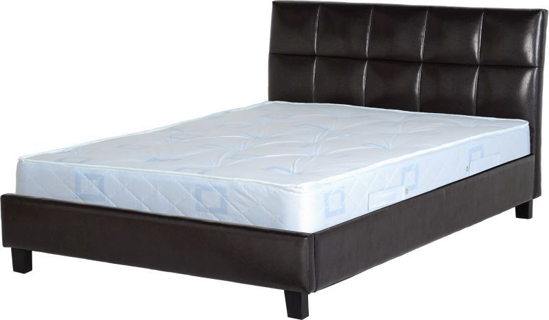 Monroe Leather Double Bed - Brown