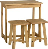 See more information about the Corona Breakfast Set (Table and 2 Stools) - DISTRESSED WAXED PINE