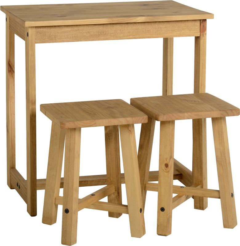 Corona Breakfast Set (Table and 2 Stools) - DISTRESSED WAXED PINE