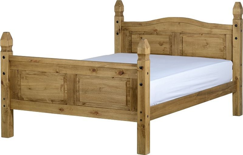 Corona Mexican Double Bed - Distressed Waxed Pine