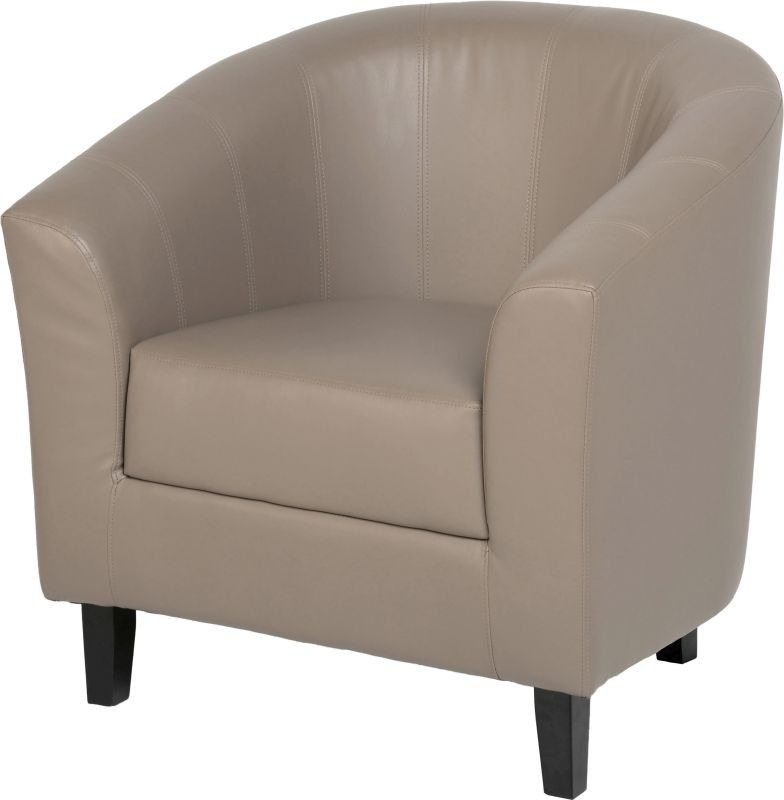 Tempo Leather Tub Chair - TAUPE