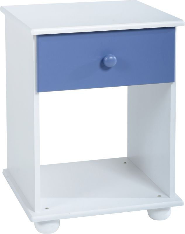 Rainbow Bedside Cabinet (1 Drawer) - BLUE/WHITE
