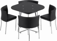 See more information about the Washington Stowaway Dining Set - BLACK GLOSS/CHROME/PU