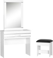 See more information about the Jordan 1 Drawer Dressing Table Set - WHITE/SILVER TRIM