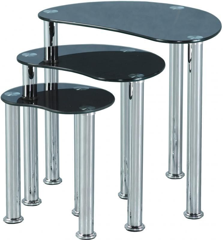 Cara Nest of Tables - BLACK GLASS/SILVER