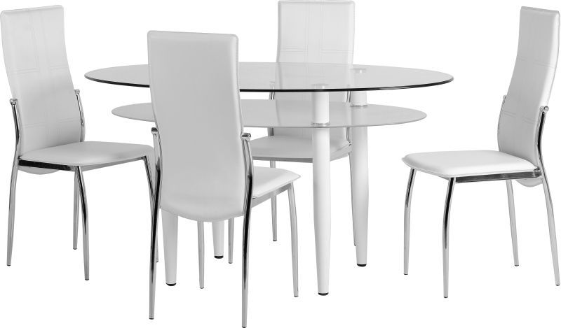 Berkley Dining Set - WHITE/FROSTED