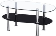 See more information about the Colby Coffee Table - CLEAR/BLACK GLASS/SILVER