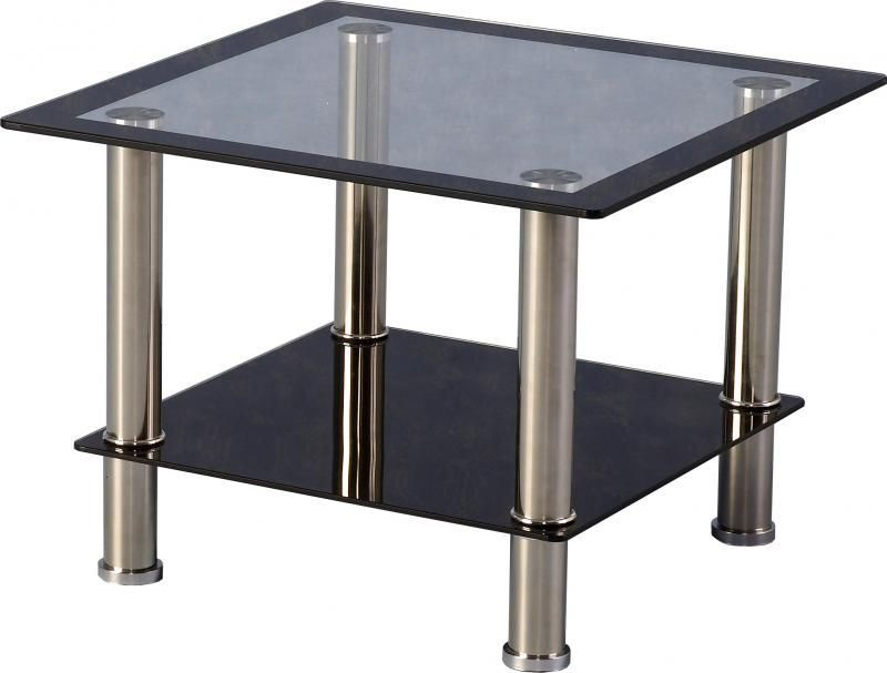 Harlequin Lamp Table - BLACK BORDER/CHROME