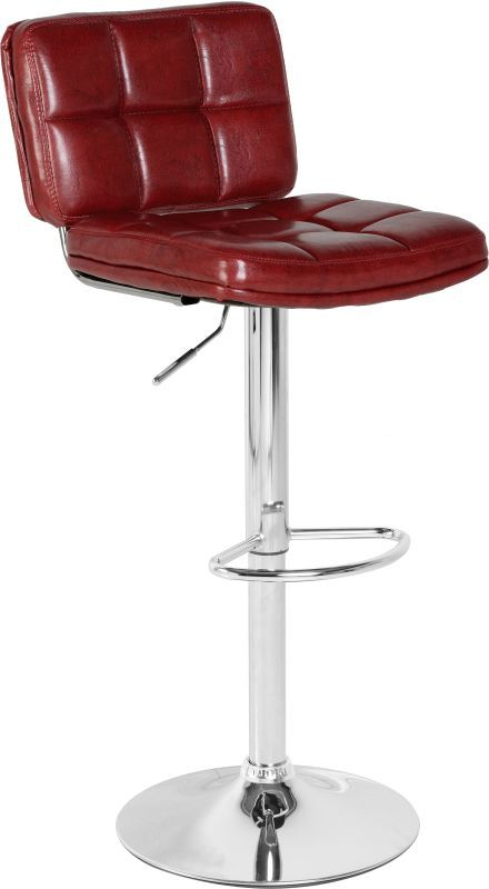 Hudson Swivel Bar Chair With Gas Lift (PAIR) - RED PU/CHROME