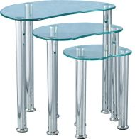 See more information about the Cara Nest of Tables - CLEAR GLASS/SILVER