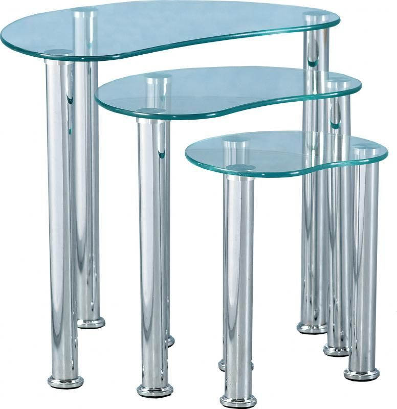 Cara Nest of Tables - CLEAR GLASS/SILVER