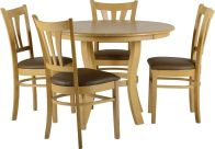 See more information about the Grosvenor 40 inch Round Dining Set - NATURAL OAK VENEER/BROWN