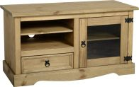 See more information about the Corona Entertainment Unit (1 Door 1 Drawer) - DISTRESSED WAXED PINE