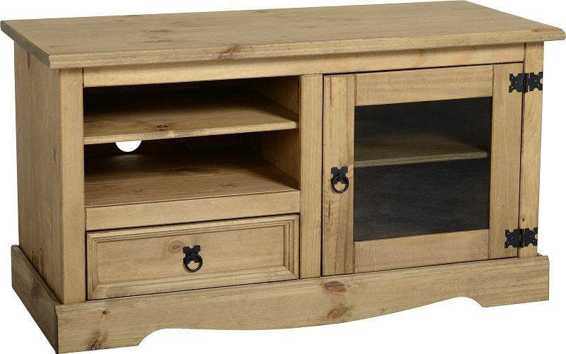 Corona Entertainment Unit (1 Door 1 Drawer) - DISTRESSED WAXED PINE