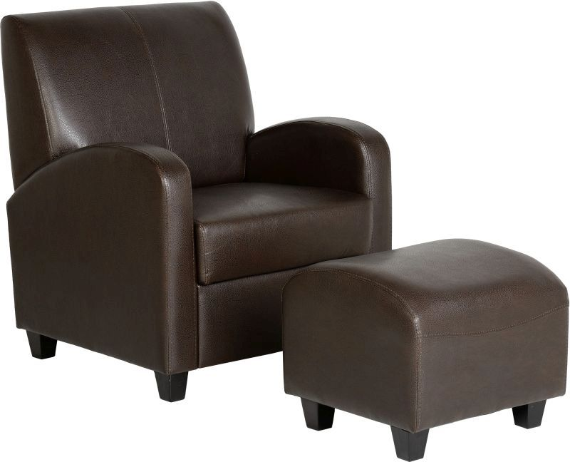 Club Leather Chair with Footstool - BROWN
