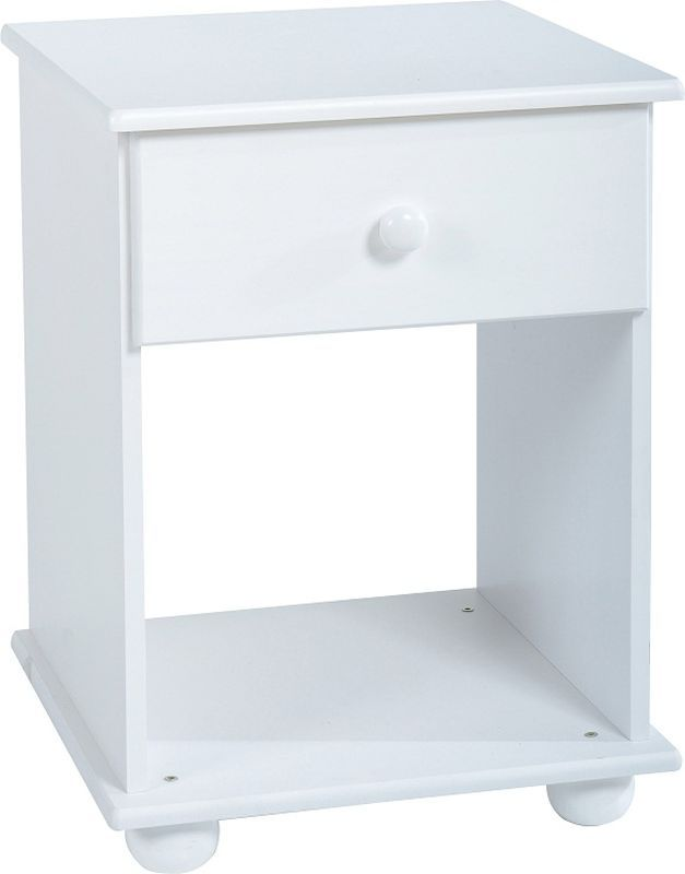 Rainbow Bedside Cabinet (1 Drawer) - WHITE