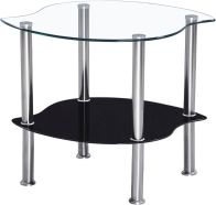 See more information about the Colby Lamp Table - CLEAR/BLACK GLASS/SILVER
