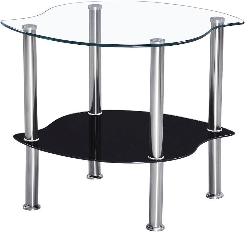 Colby Lamp Table - CLEAR/BLACK GLASS/SILVER