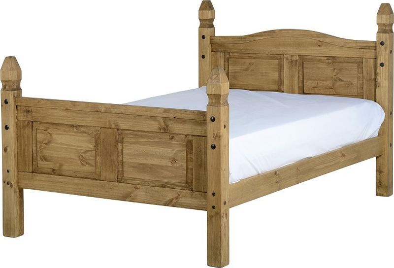 Corona Mexican Small Double Bed - Distressed Waxed Pine