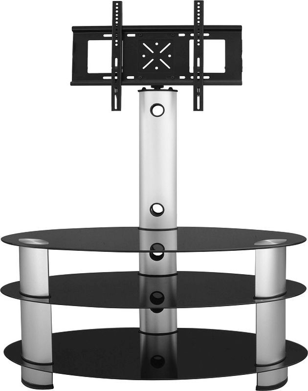 Bentley Black Glass TV Stand - SILVER