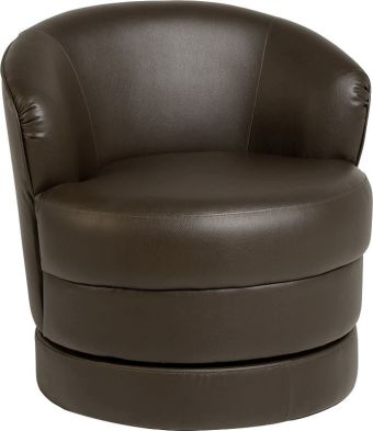 Oscar Leather Swivel Tub Chair  EXPRESSON BROWN
