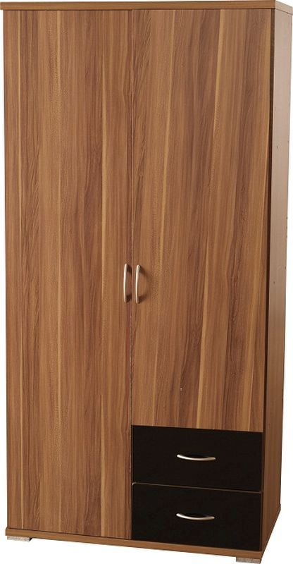 Hollywood Walnut Wardrobe (2 Door 2 Drawer)