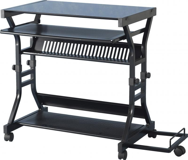 Cori Computer Desk - BLACK/BLACK GLOSS