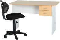 See more information about the Jenny Study Desk (2 Drawer) - BEECH/WHITE