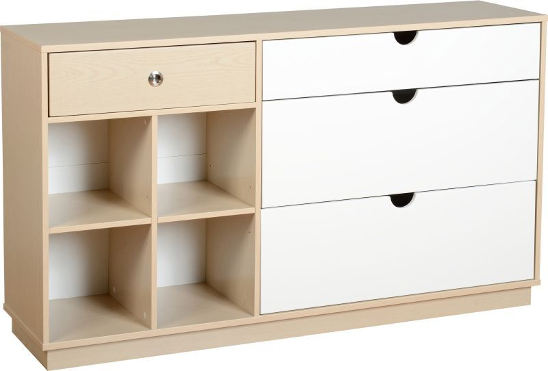 Fusion Classic Sideboard (4 Drawer) - IVORY MAPLE/WHITE