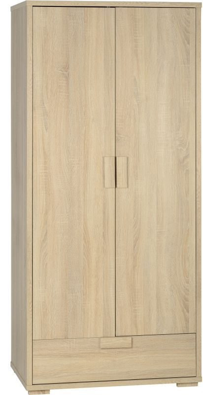 Cambourne Contemporary Wardrobe (2 Door 1 Drawer) - SONOMA OAK