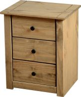 See more information about the Panama Bedside Chest (3 Drawer) - NATURAL WAX