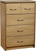 See more information about the Charles Classic Chest (3+2 Drawer) - OAK VENEER/WALNUT TRIM