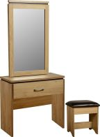 See more information about the Charles 1 Drawer Dressing Table Set - OAK VENEER\WALNUT TRIM