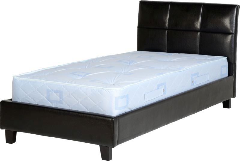 Monroe Leather Single Bed - Black