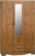 See more information about the Cairo Mirrored Wardrobe (3 Door 2 Drawer) - DARK KENNEDY PINE