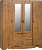 See more information about the Cairo Mirrored Wardrobe (4 Door 2 Drawer) - DARK KENNEDY PINE
