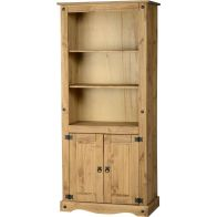 See more information about the Corona Display Unit/Bookcase (2 Door) - DISTRESSED WAXED PINE