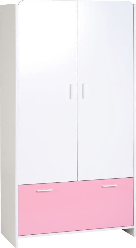 Lollipop Wardrobe (2 Door 1 Drawer) - WHITE/PINK