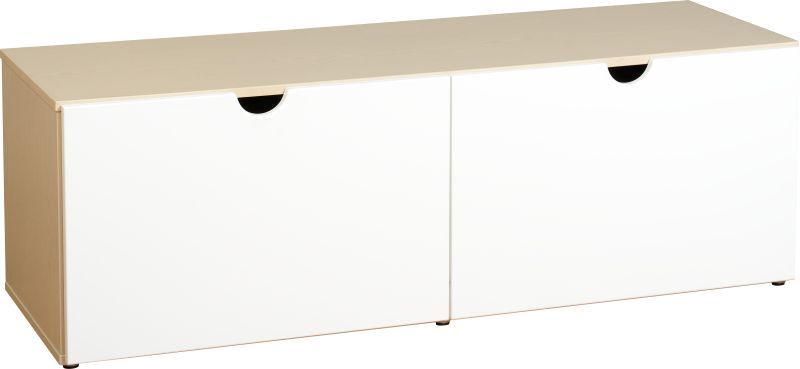 Fusion Flat Screen TV Unit (2 Drawer) - IVORY MAPLE/WHITE