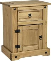 See more information about the Corona Bedside Cabinet (1 Drawer 1 Door) - DISTRESSED WAXED PINE