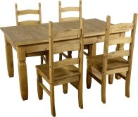See more information about the Corona Extending Dining Set (1+4) - DISTRESSED WAXED PINE