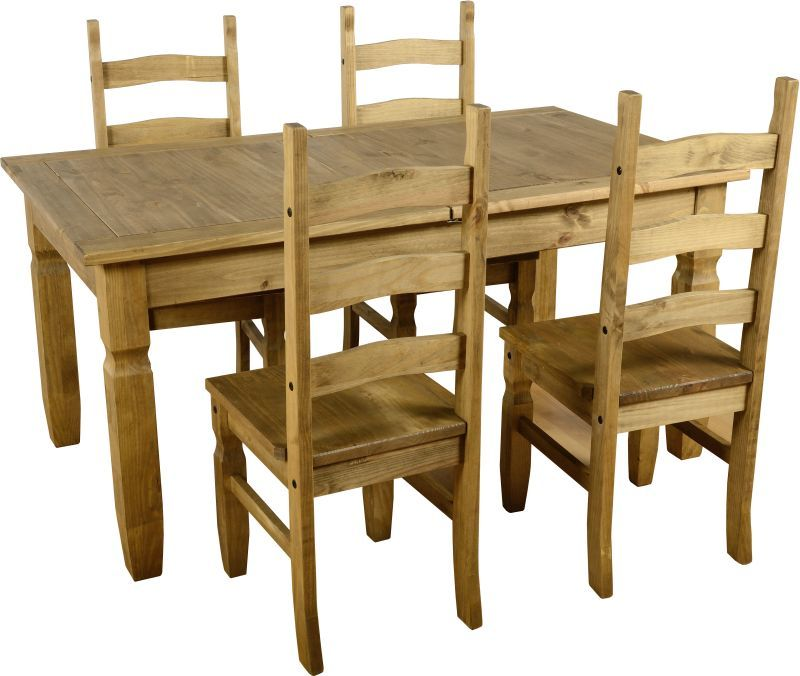 Corona Extending Dining Set (1+4) - DISTRESSED WAXED PINE