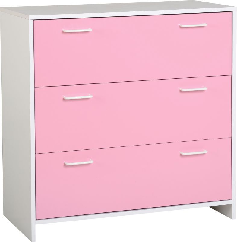 Lollipop 3 Drawer Chest - WHITE/PINK